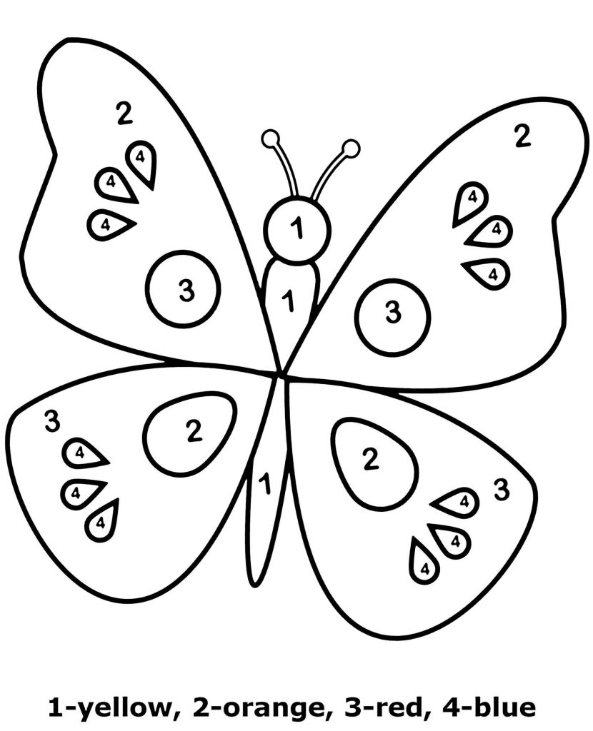 Simple Butterfly Color By Number Coloring Page