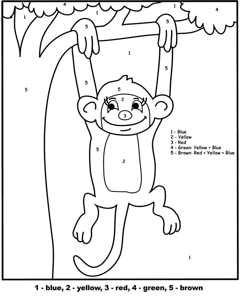Simple Color By Number Coloring Page Monkey