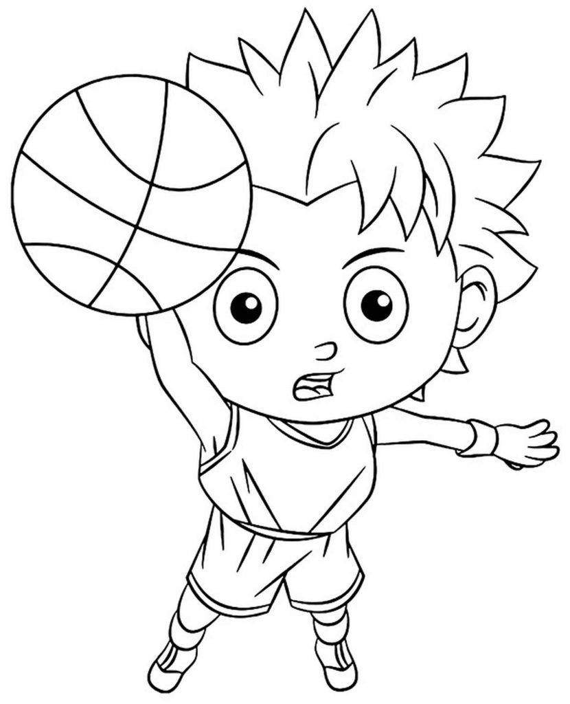 Simple Coloring Sheet A Basketball Player