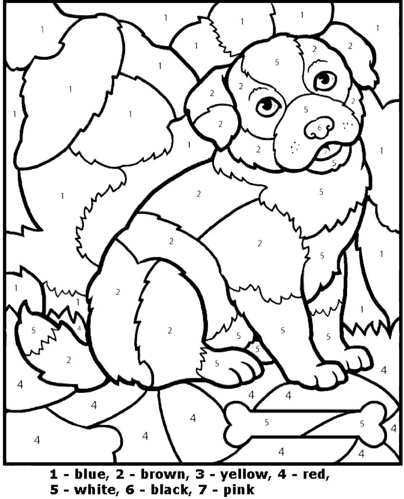 Simple Dog Color By Number Coloring Page