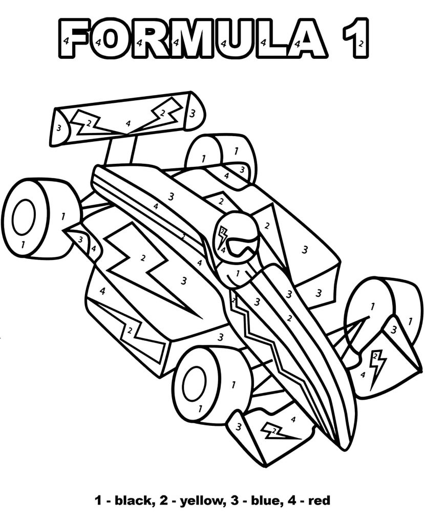 Simple Formula 1 Racing Car Color By Number Coloring Page