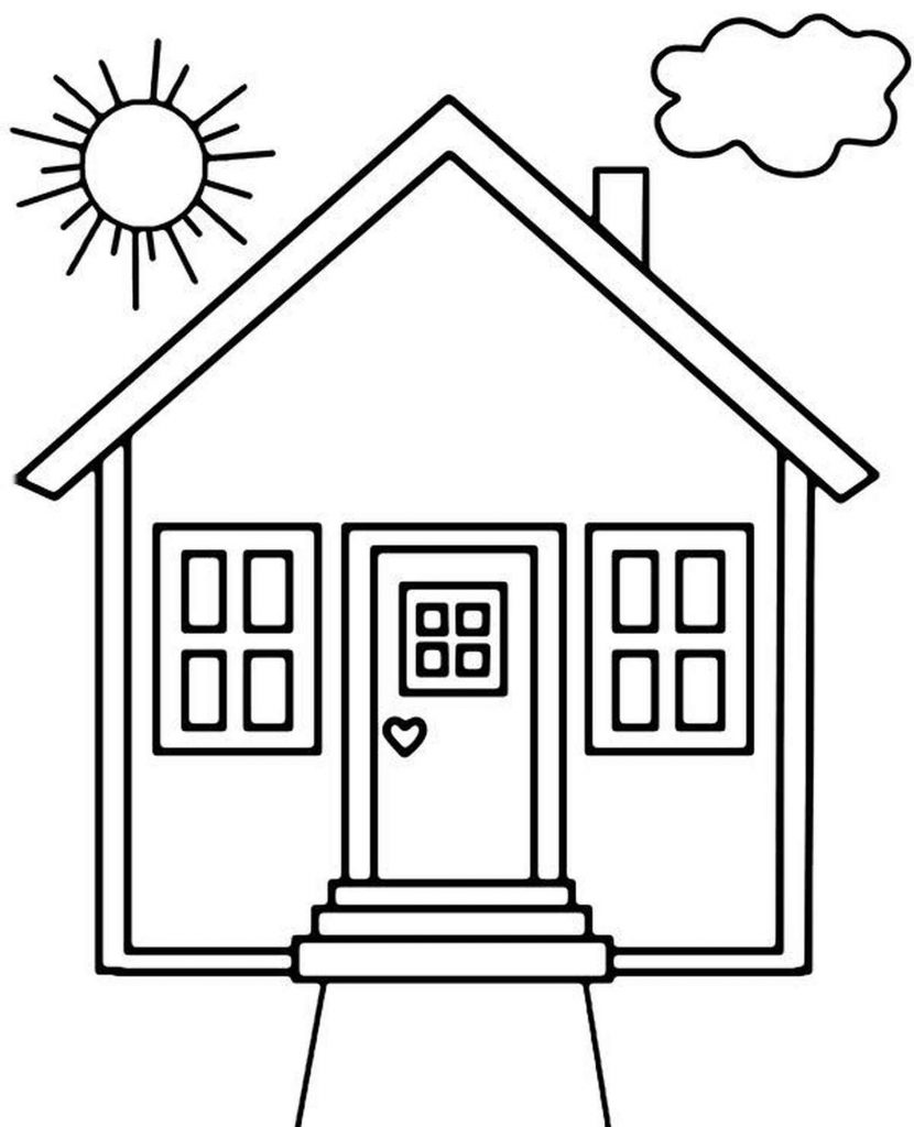 Simple House Coloring Page