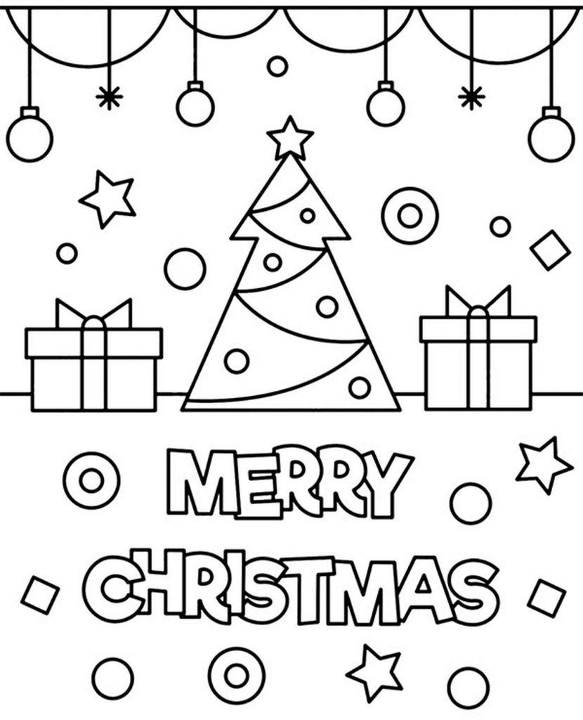 Simple Merry Christmas Card To Color