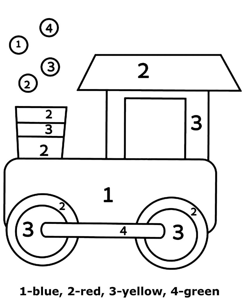 Simple Train Color By Number Coloring Page