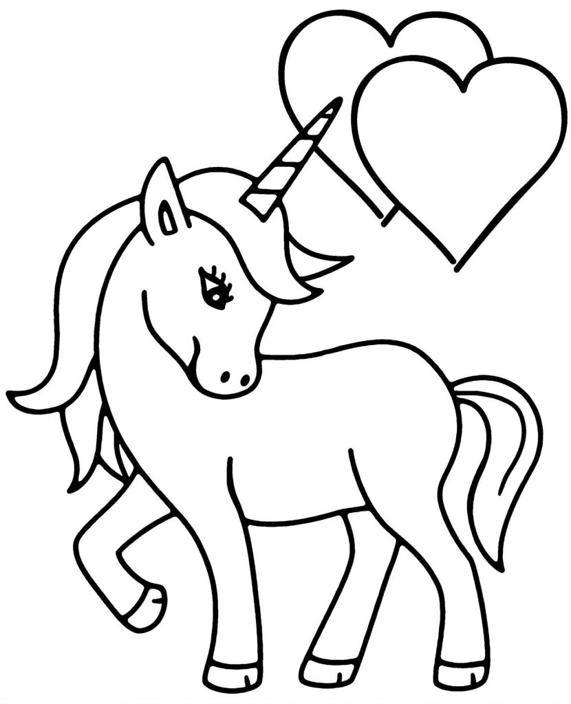 Simple Unicorn With Hearts