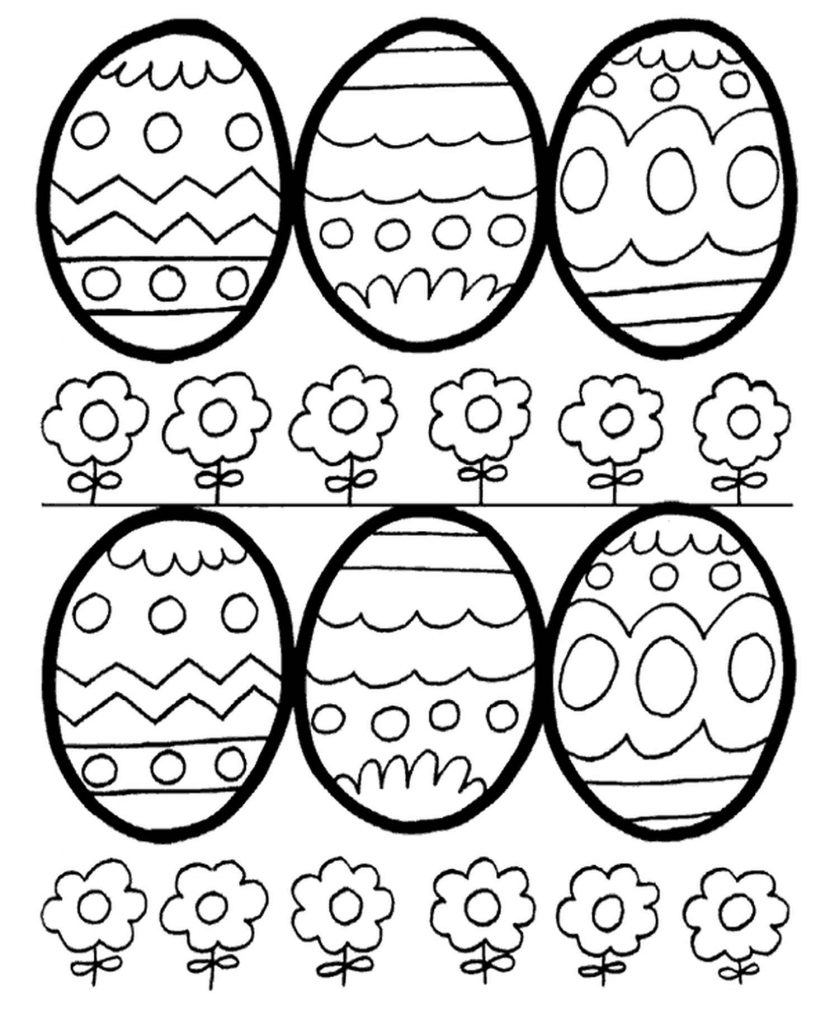 Six Easter Eggs To Color
