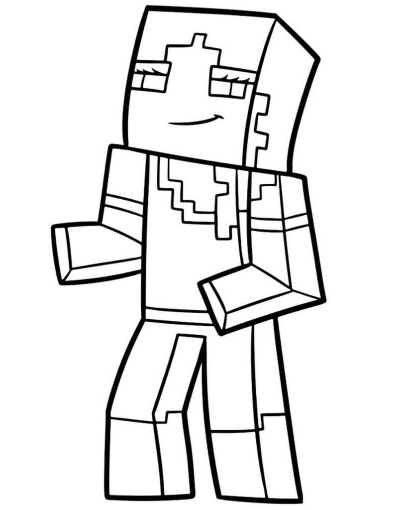 Skin Of Dancing Alex In Minecraft Coloring Sheet