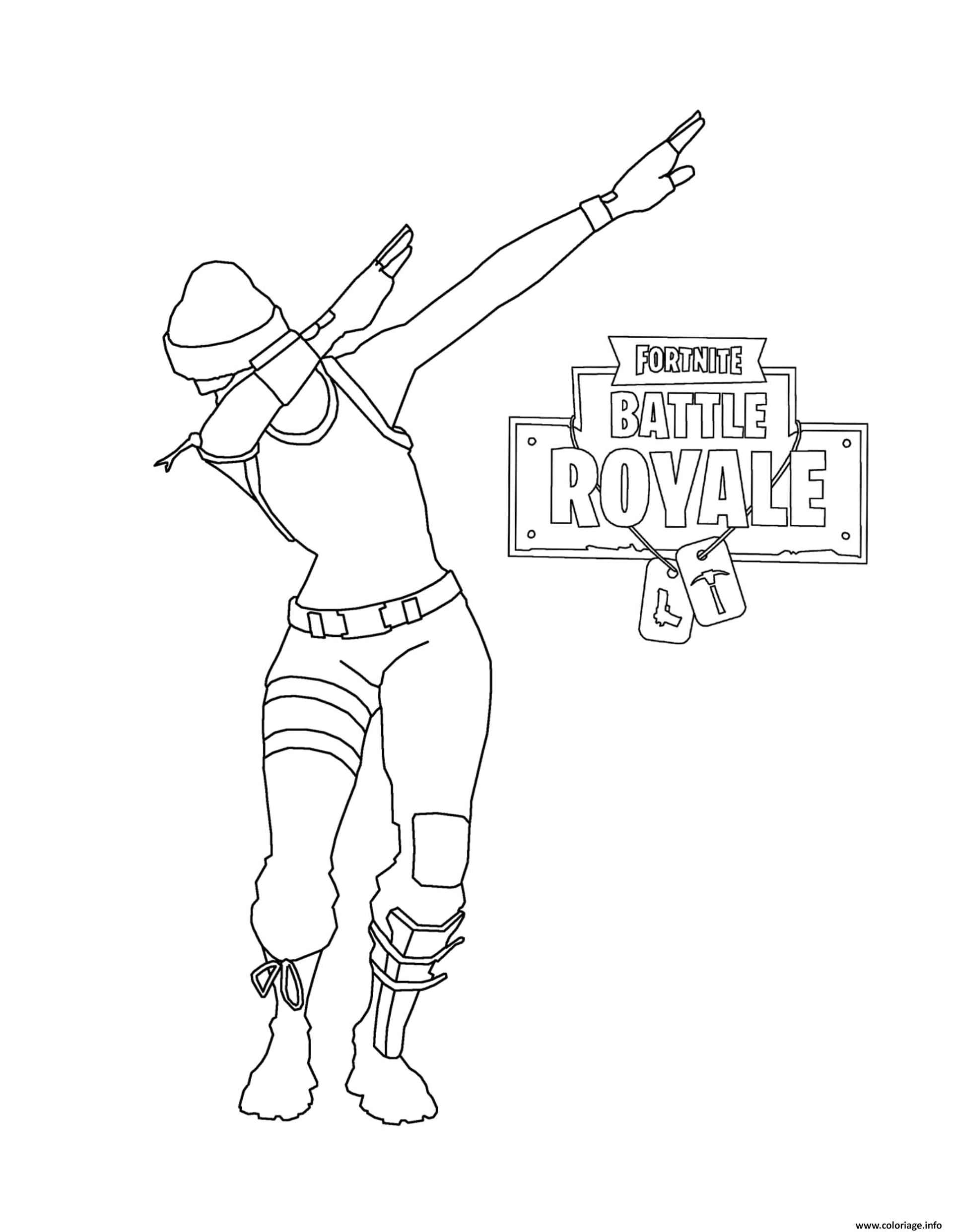 Skin With Dab From The Game Fortnite Coloring Sheet