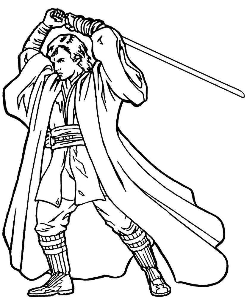 Skywalker From Star Wars With A Laser Sword Coloring Page