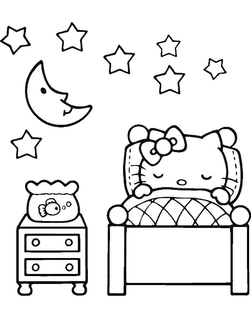 Sleeping Hello Kitty In Her Bed Under The Moon And Stars