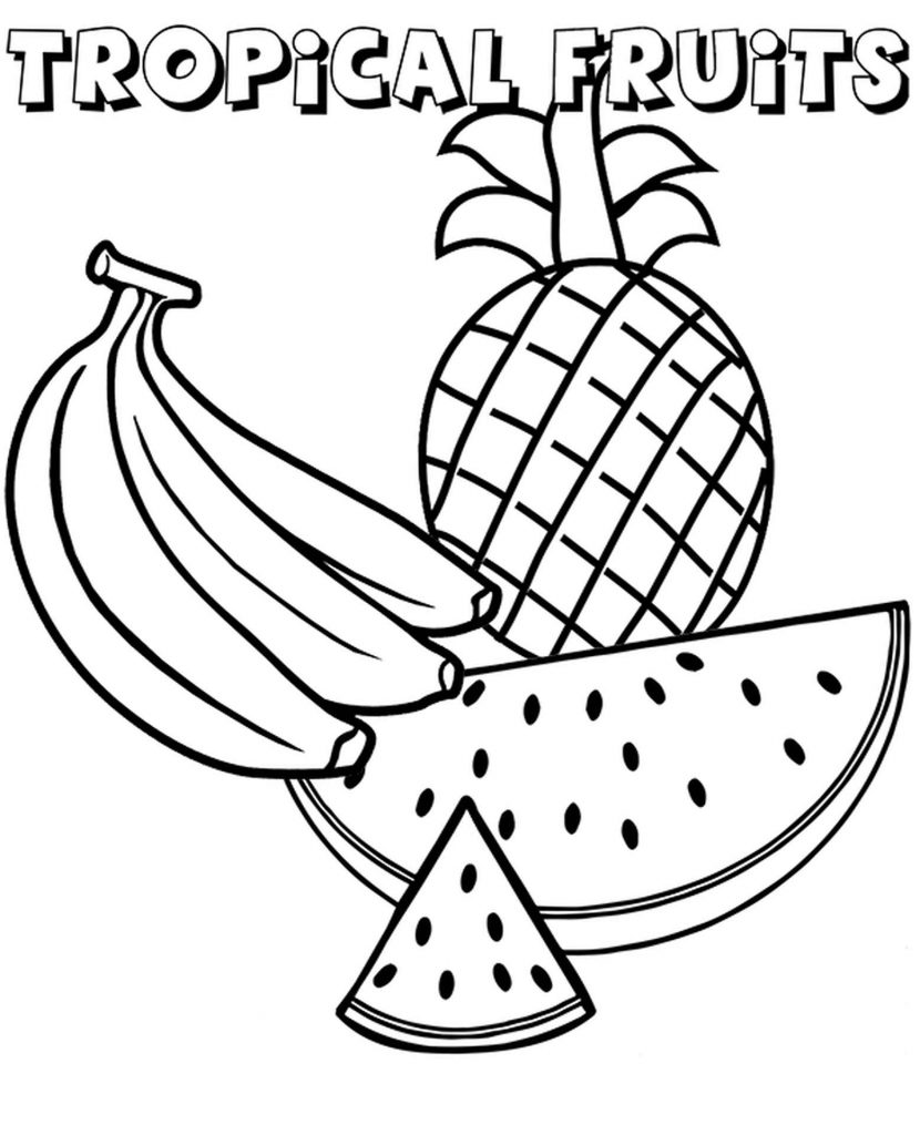 Slice Of Watermelon, Bananas, Pineapple To Color