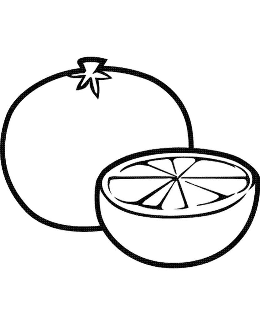 Sliced Tangerine Coloring Page