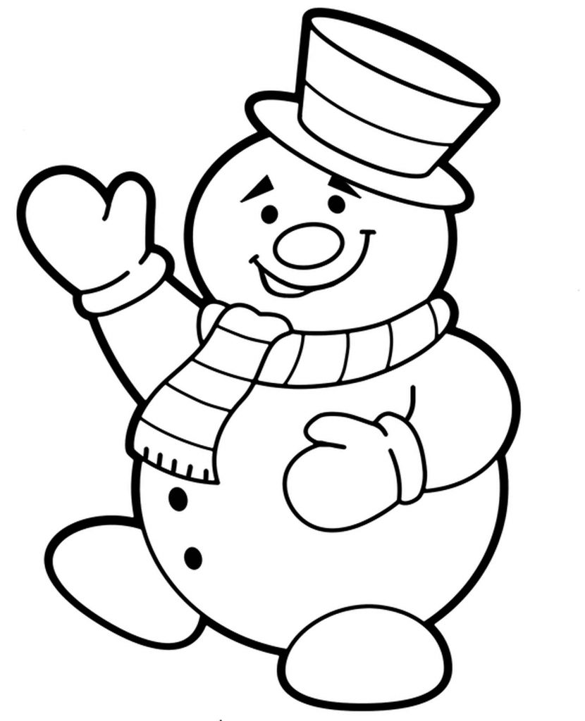 Smiled Snowman Coloring Page