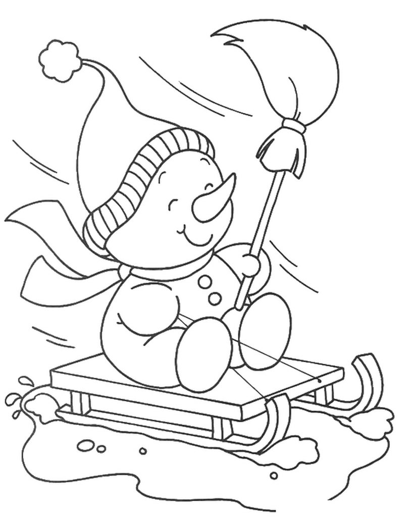 Smiling Snowman Riding Sledge Coloring Page