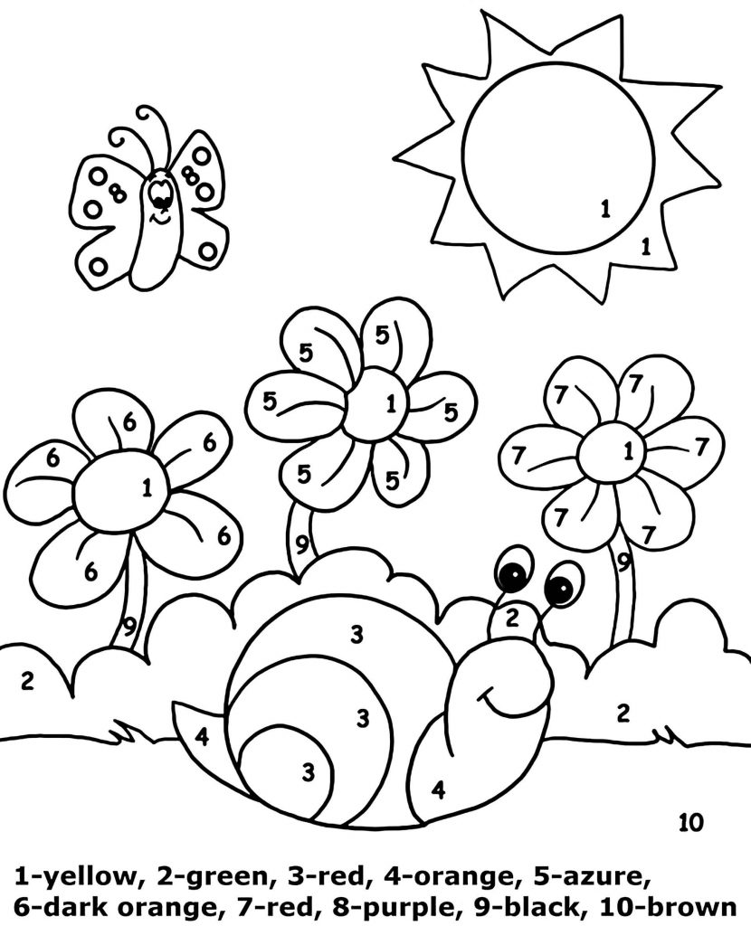 Snail In The Sun Color By Number Coloring Page