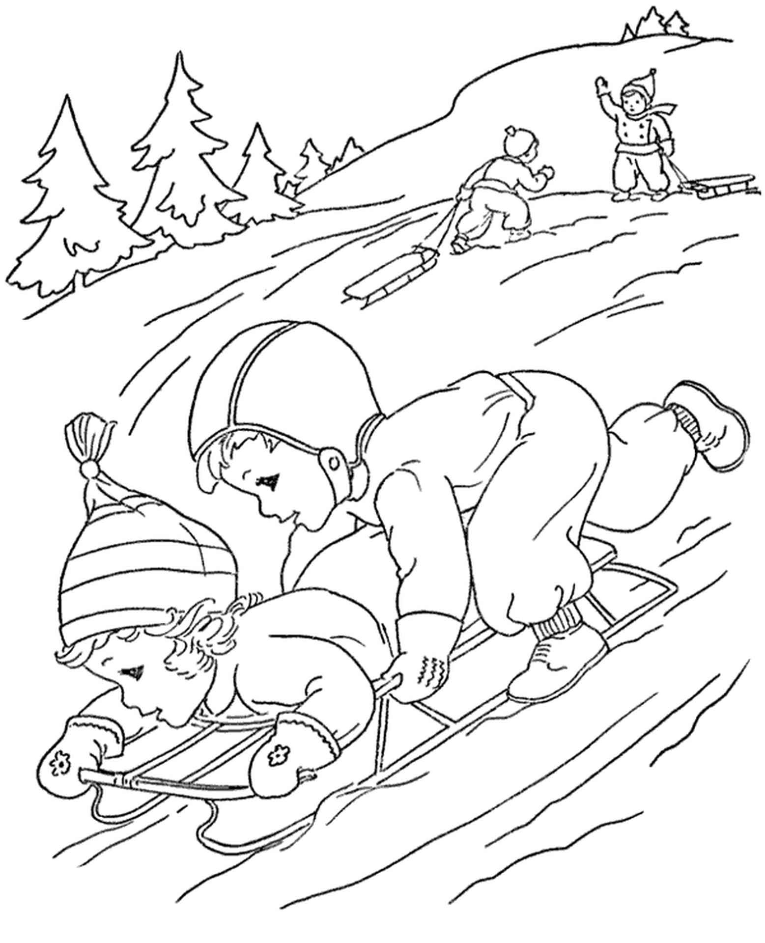 Snow And Sledge Coloring Sheet