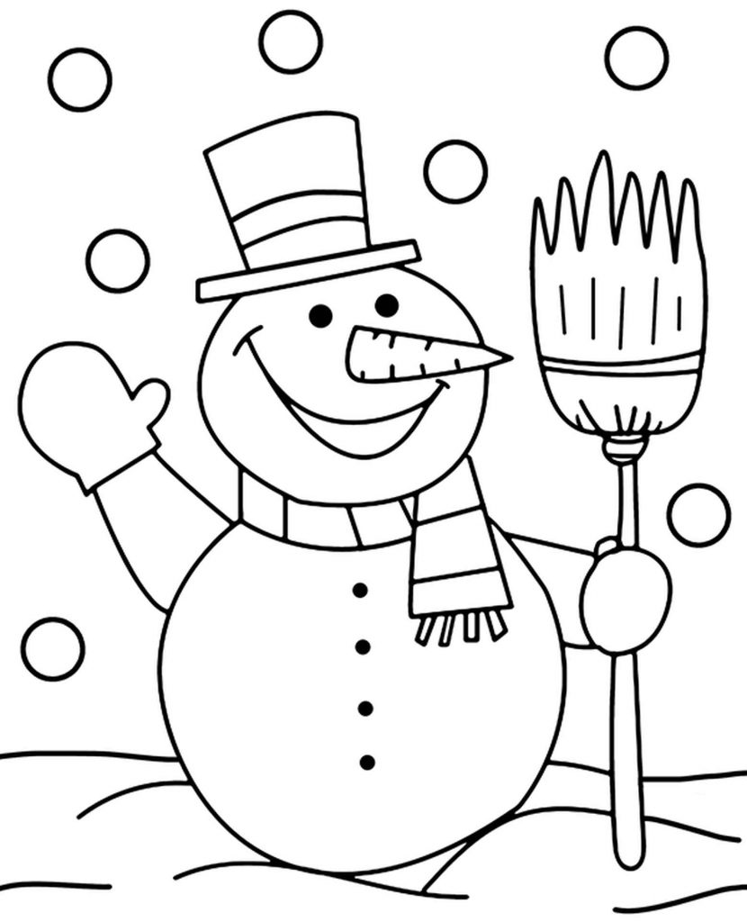 Snowman With Sweeping Brush