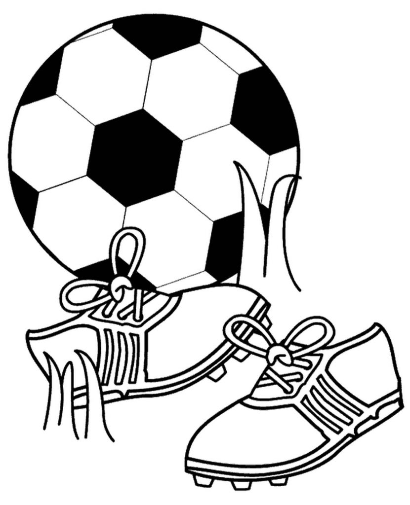 Soccer Ball And Boots Coloring Page
