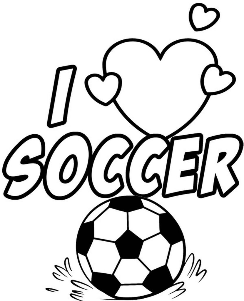 Soccer Ball And Lettering Coloring Page