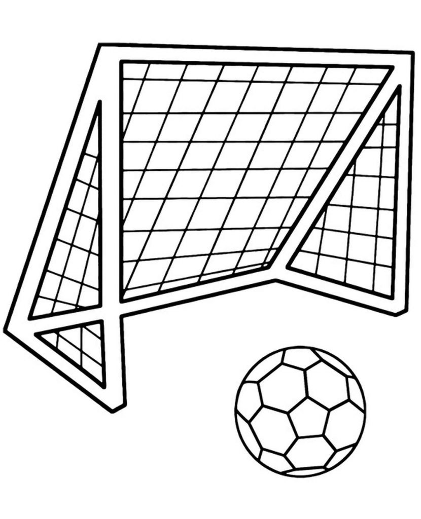 Soccer Goal And Ball Coloring Page