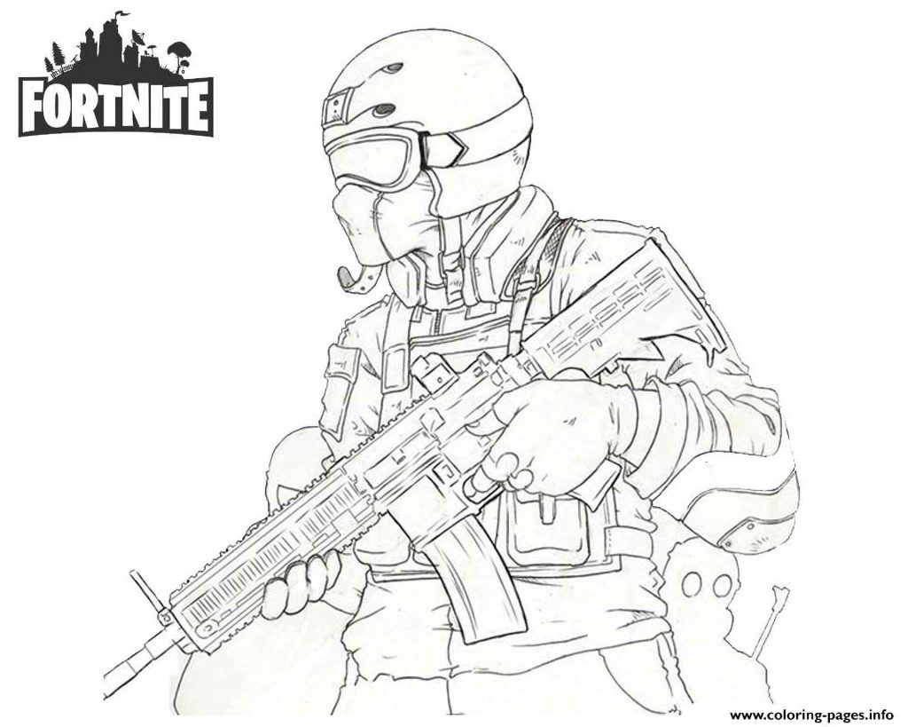 Soldier With Weapon Skin From The Game Fortnite Coloring Page