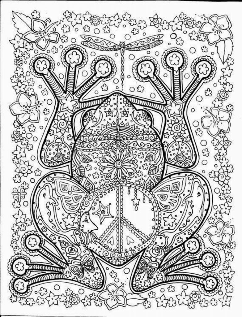 Sophisticated Frog Coloring Page For Adults