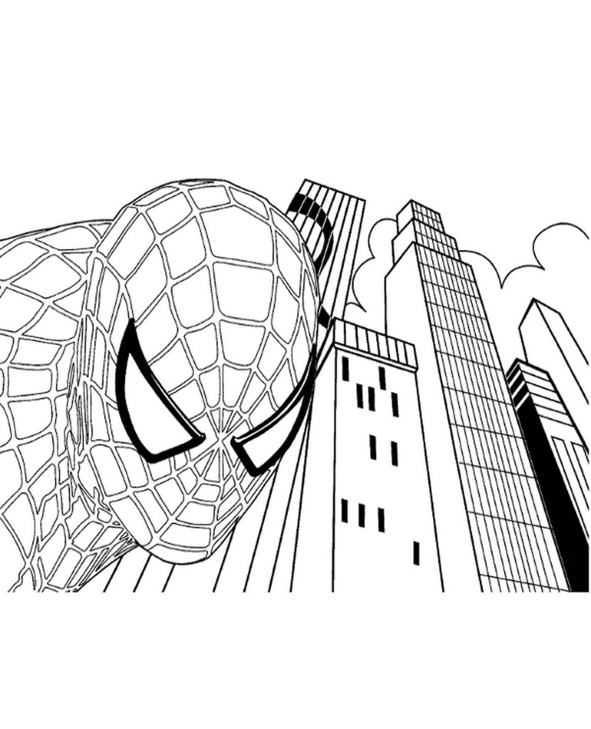 Spider-Man Face Coloring Page