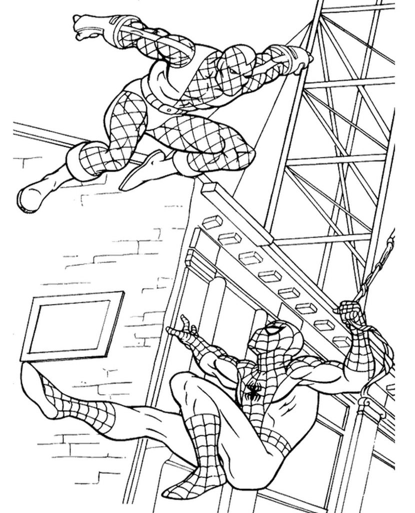 Spider-Man Fighting The Enemy Coloring Page