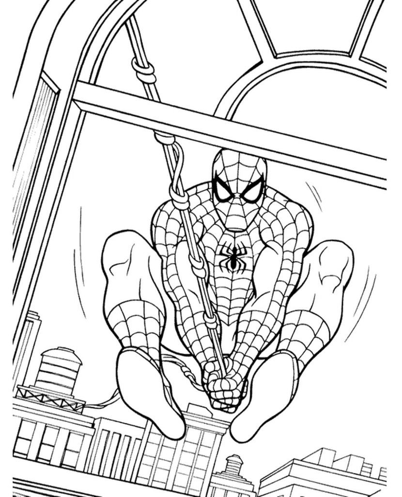 Spider-Man Flies Through The Window Coloring Page