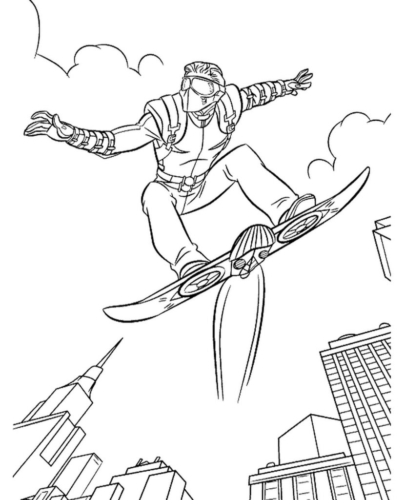 Spider-Man Flying Skateboard Coloring Page