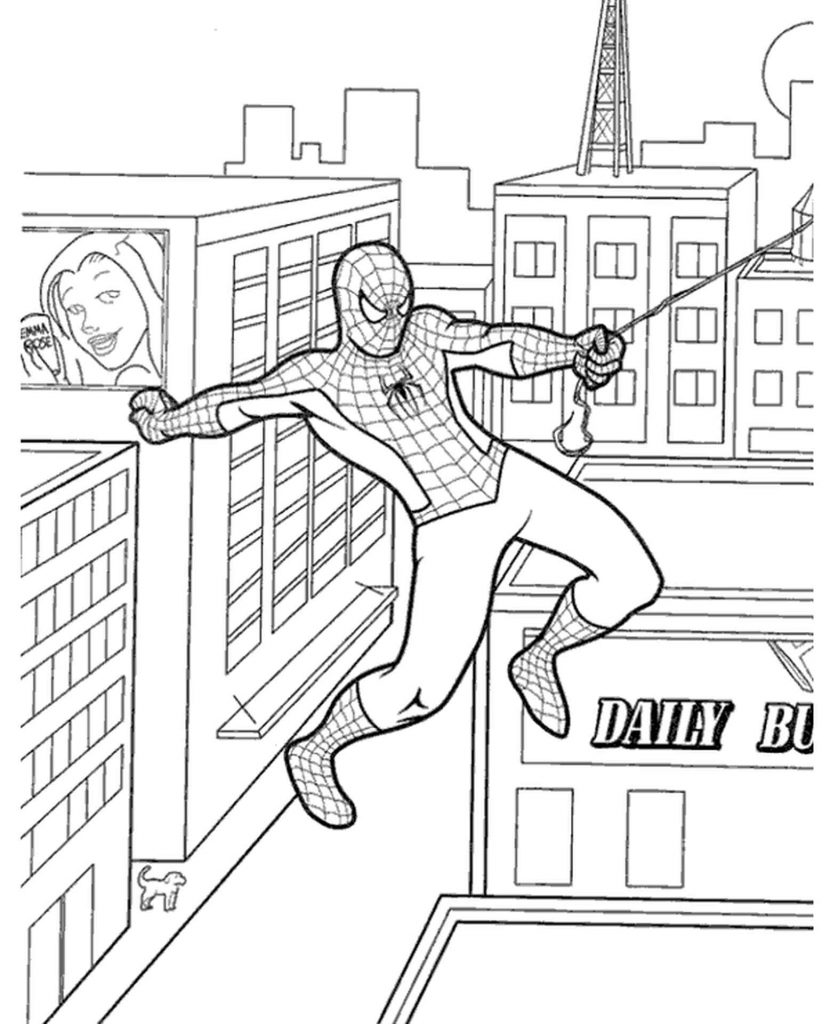 Spider-Man Gets Over The Web Coloring Page