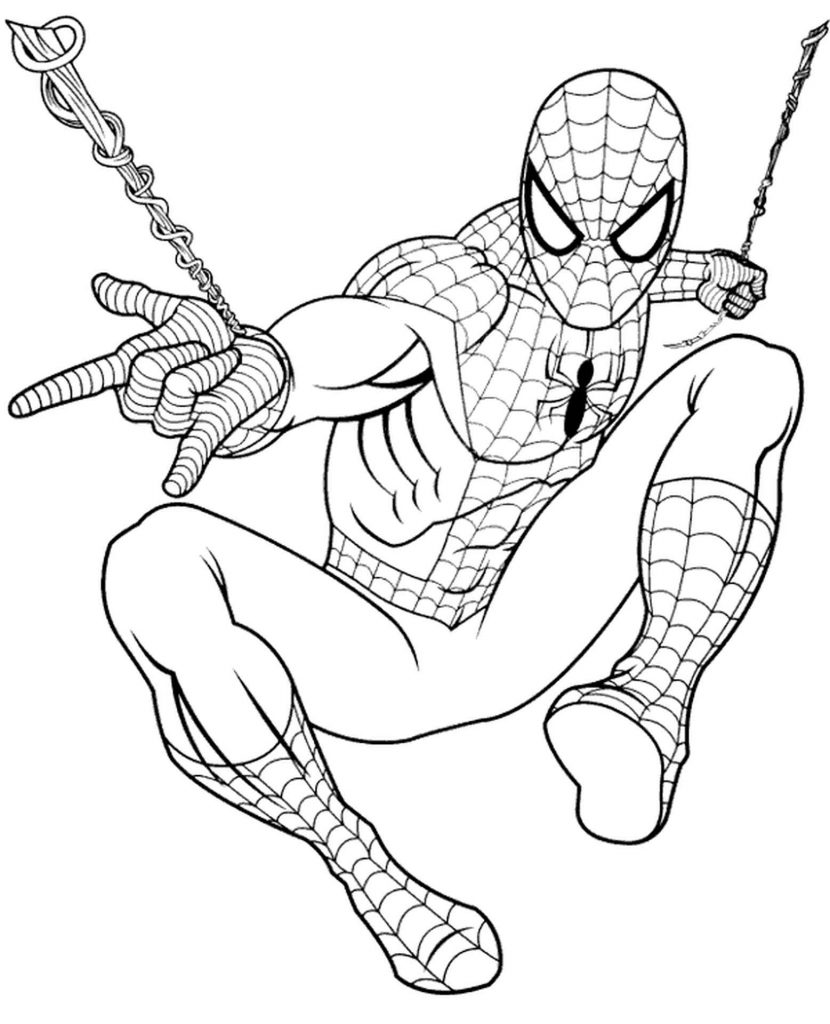 Spider-Man In A Corporate Pose Shoots A Cobweb Coloring Page