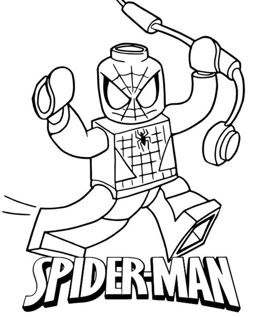 Spider-Man Lego With Name Coloring Page