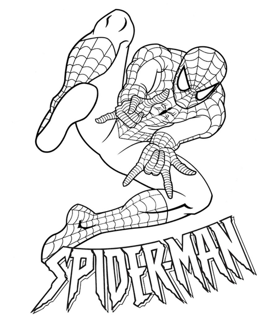 Spider-Man Shoots Spider Web With Logo Coloring Page