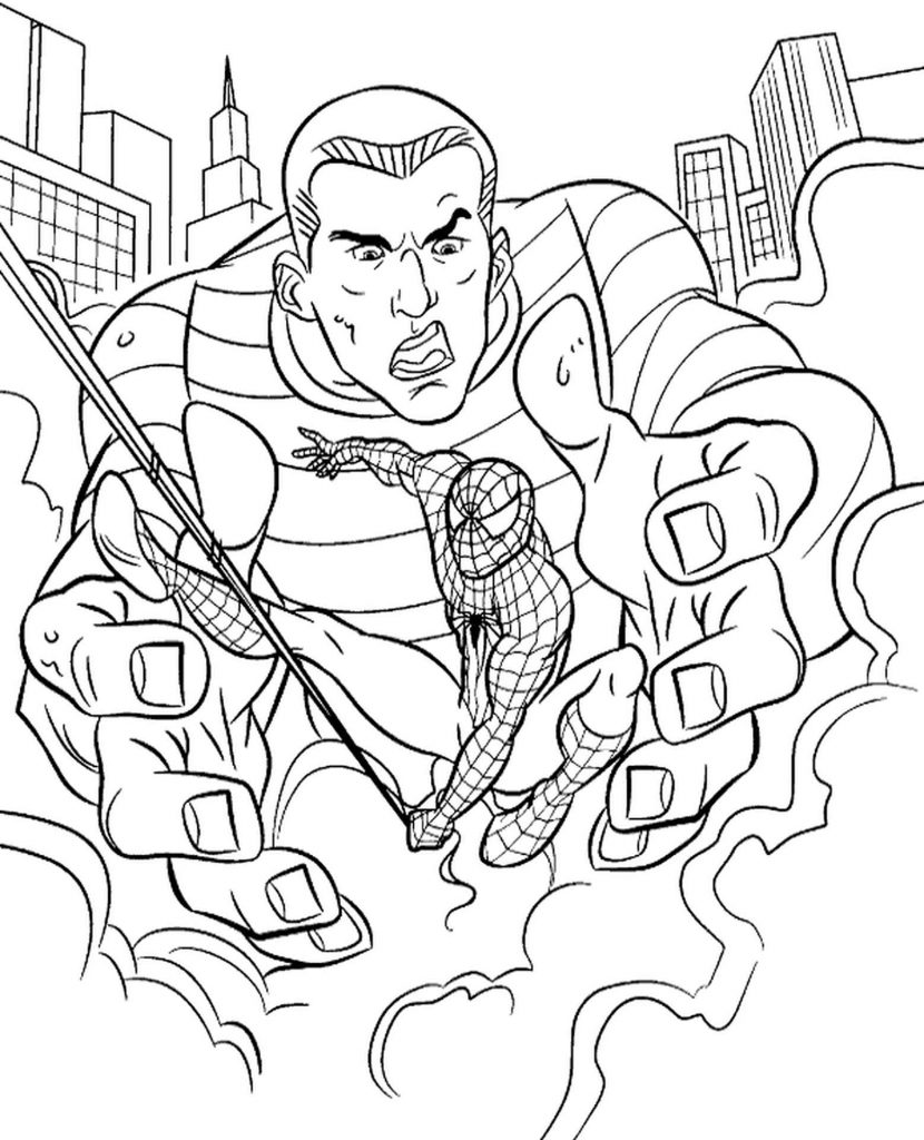 Spider-Man Slips Out Of Sandman's Hands Coloring Page
