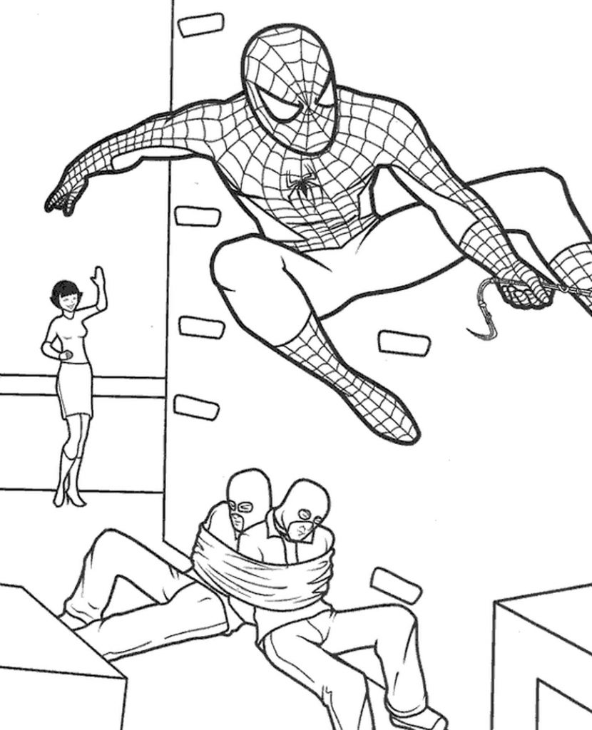 Spider-Man Tied Two Criminals Coloring Page