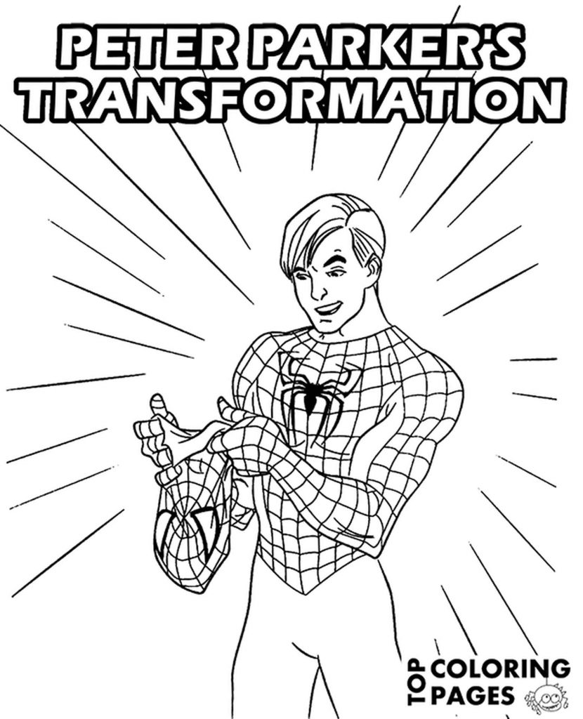 Spider-Man Took Off His Mask Coloring Page
