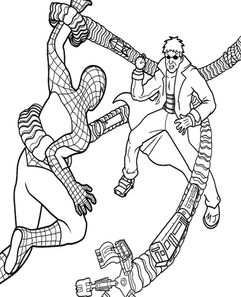 Spider-Man Vs Doctor Octopus Coloring Page