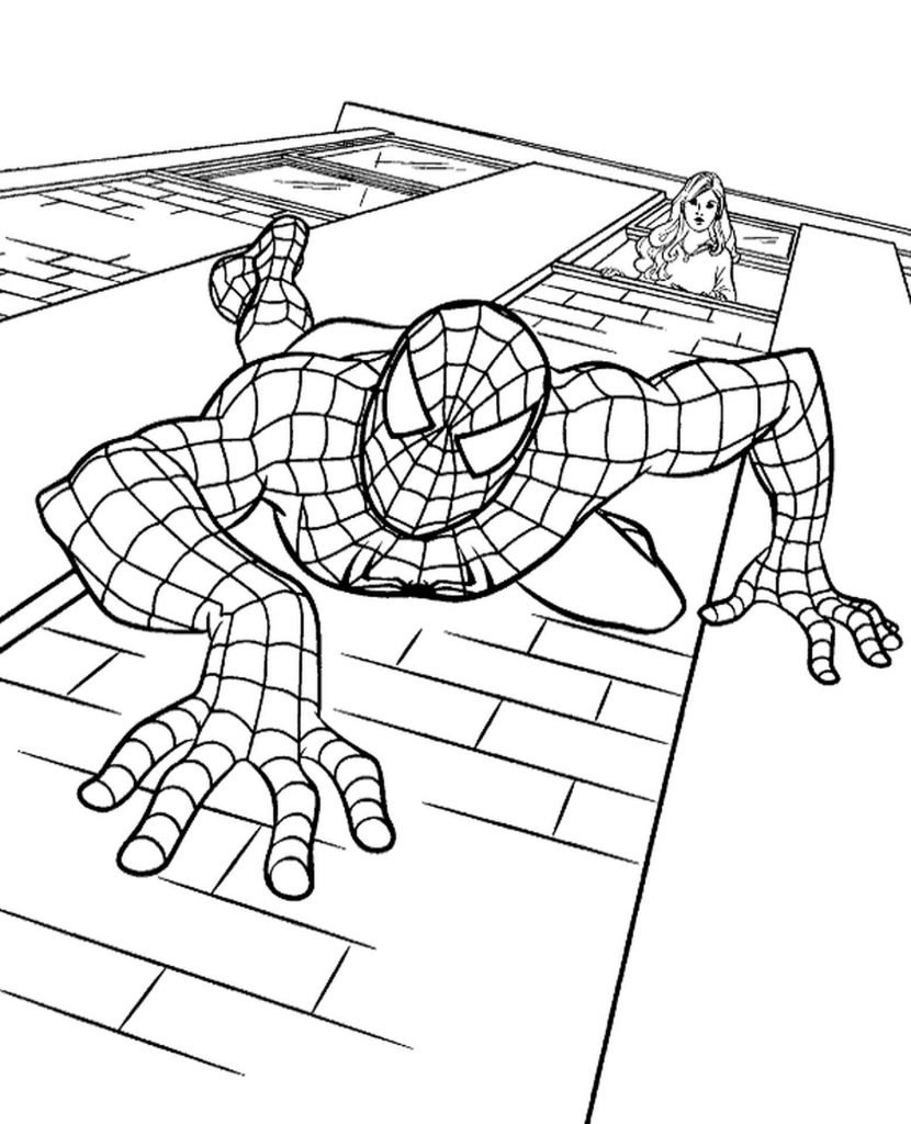 Spider-Man Walking Down The Wall Coloring Page