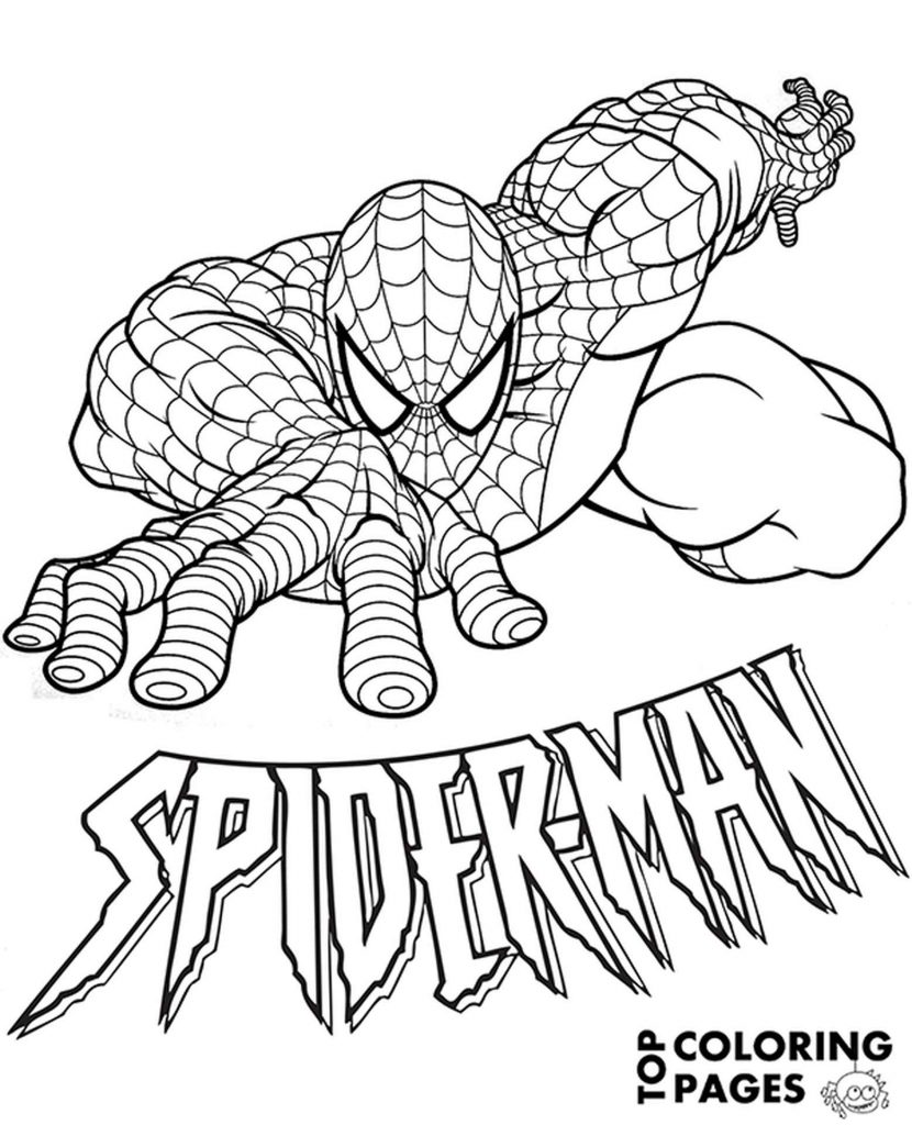 Spider-Man With Logo Coloring Page