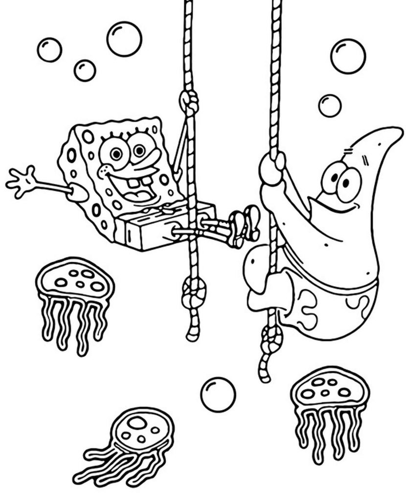 Spongebob And Patrick Ride The Ropes Coloring Page