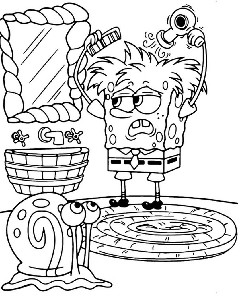 Spongebob Combing His Hair Coloring Page