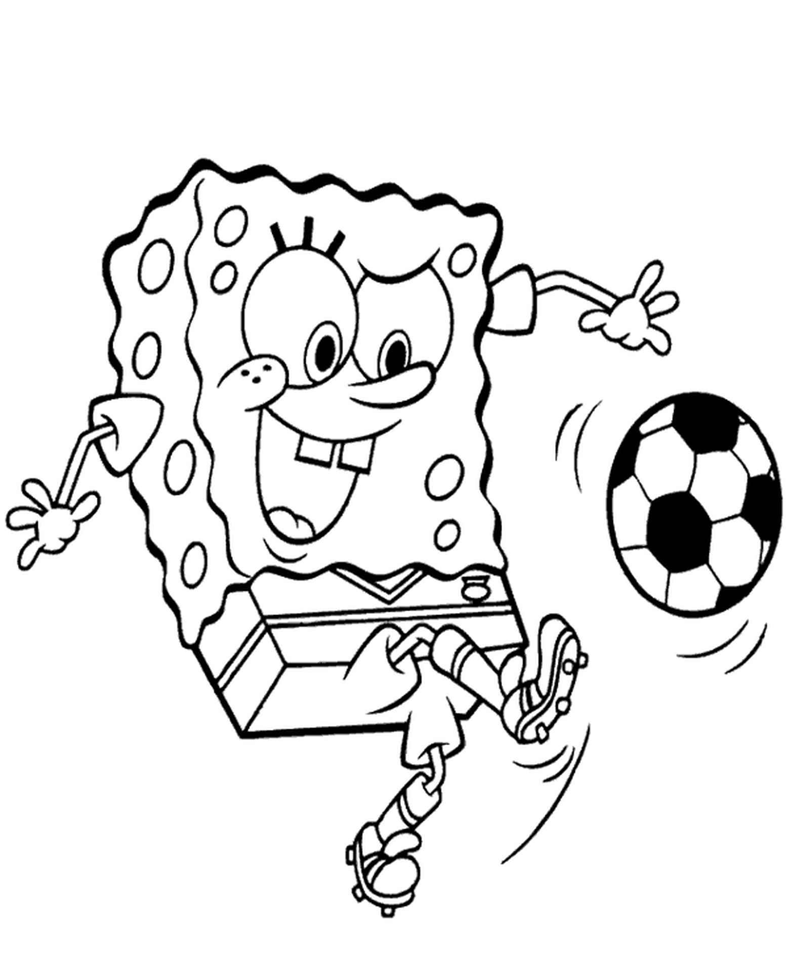Spongebob Has Fun Playing Soccer Coloring Page