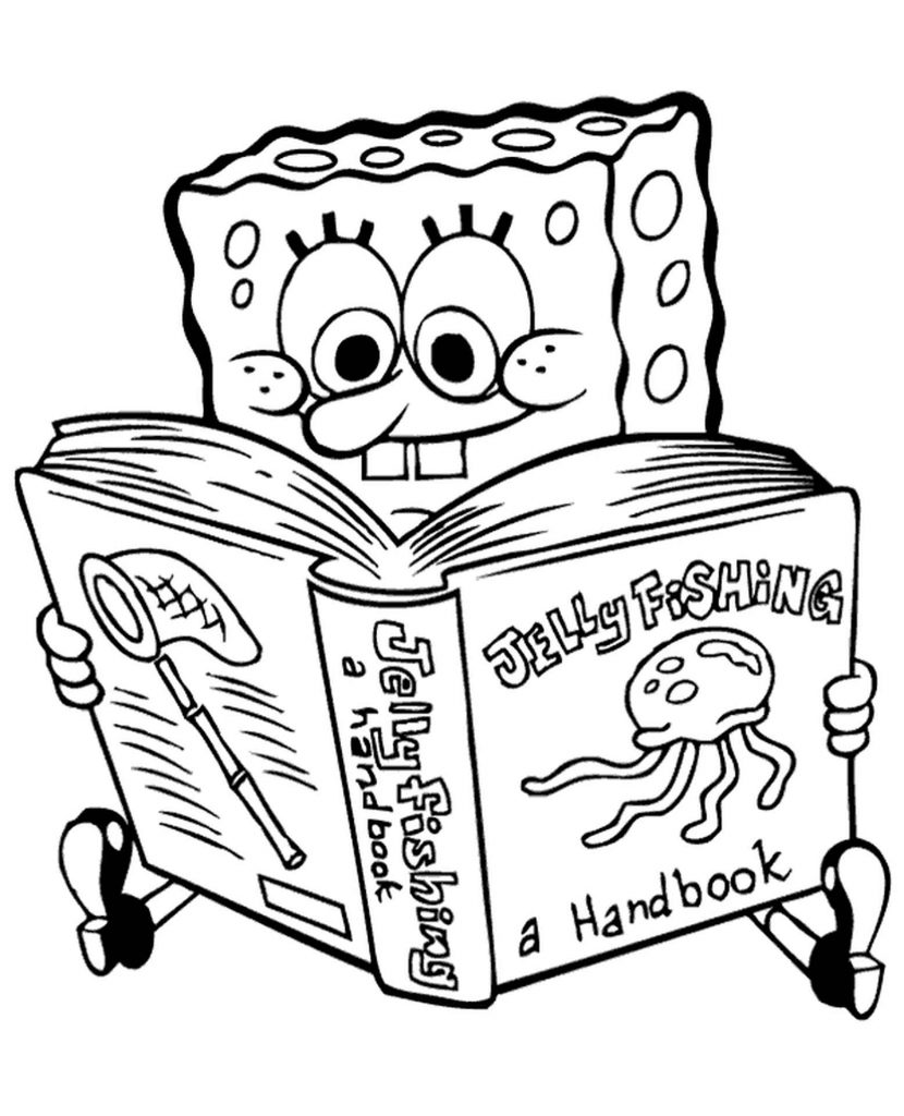 Spongebob Is Reading A Book About Jellyfish Coloring Page