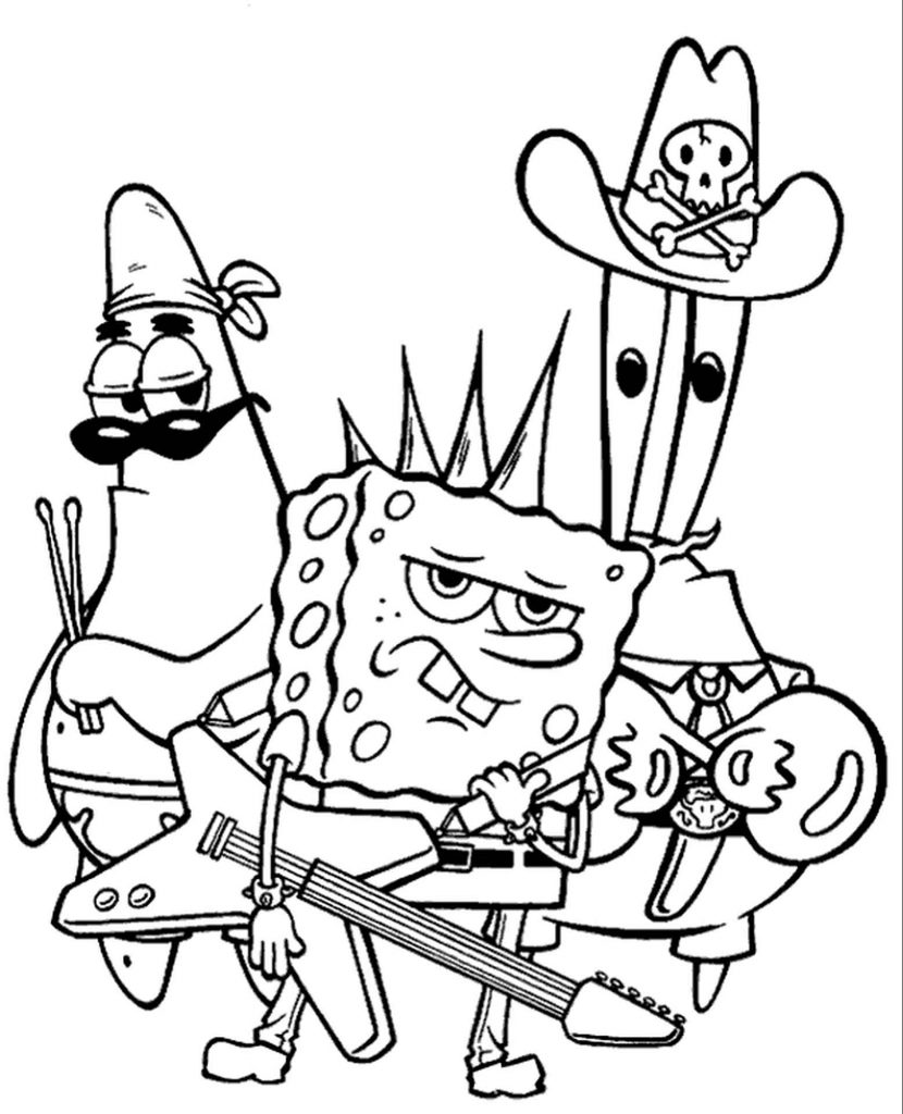 Spongebob, Patrick And Mr.Krabs Rockers Coloring Page