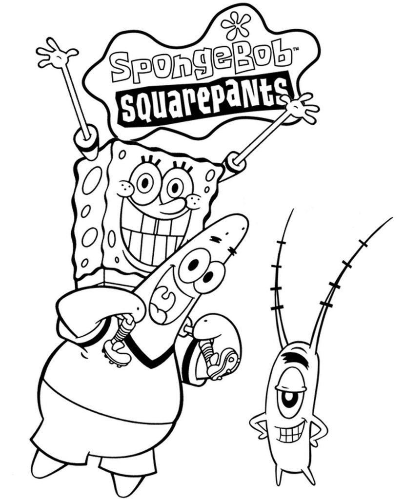 Spongebob, Plankton And Patrick Have Fun Coloring Page