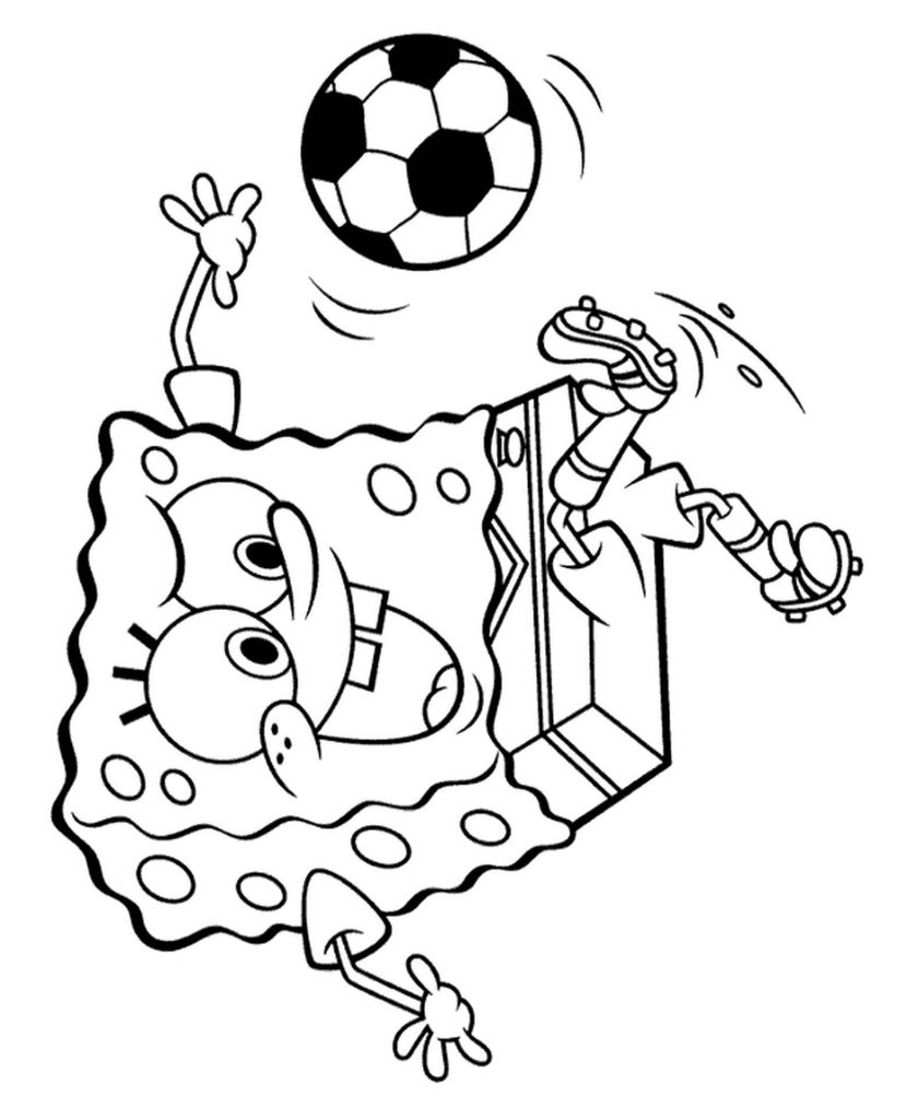 Spongebob Plays Soccer Coloring Page