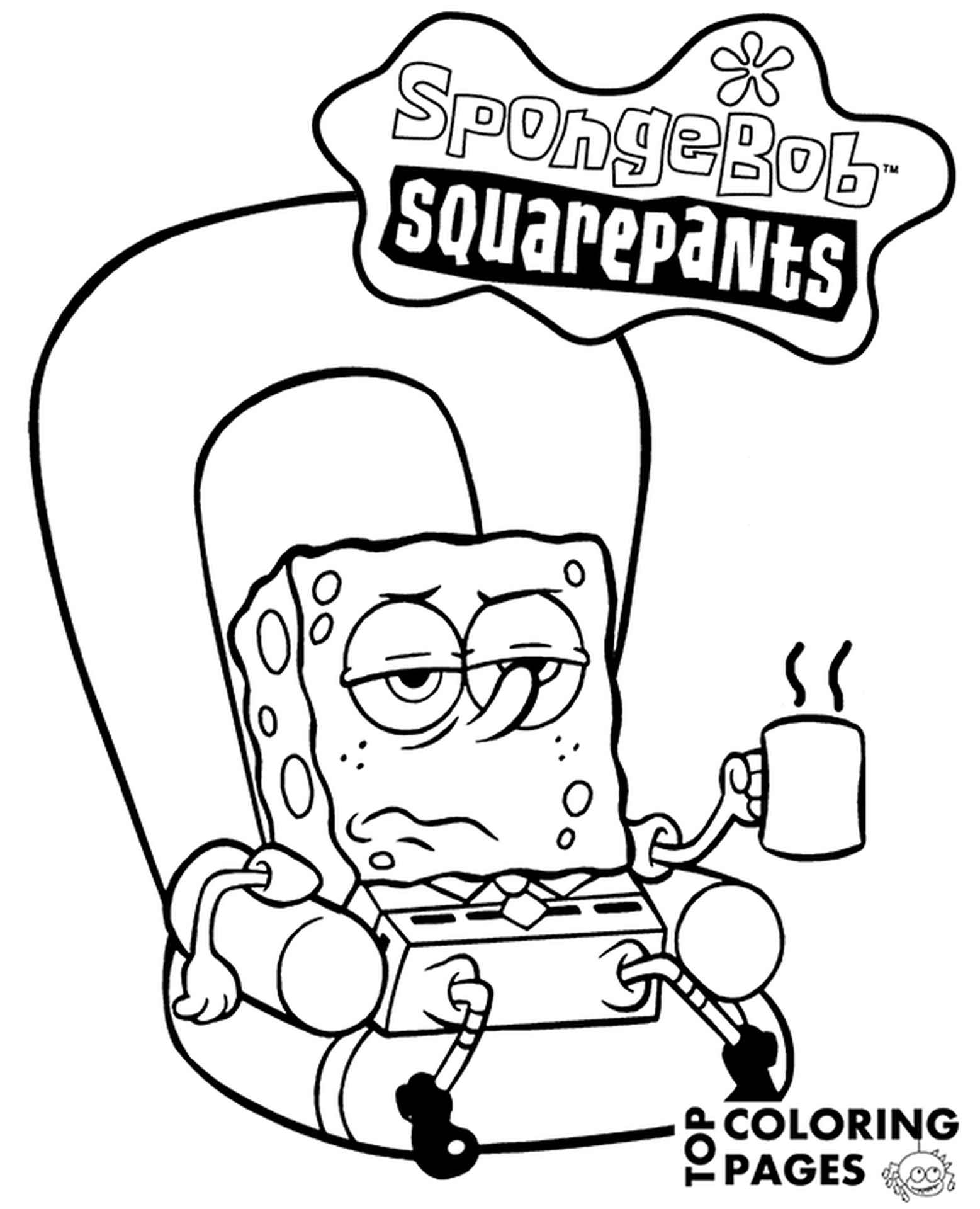 Spongebob Relaxed Drinking Coffee With Logo Coloring Page