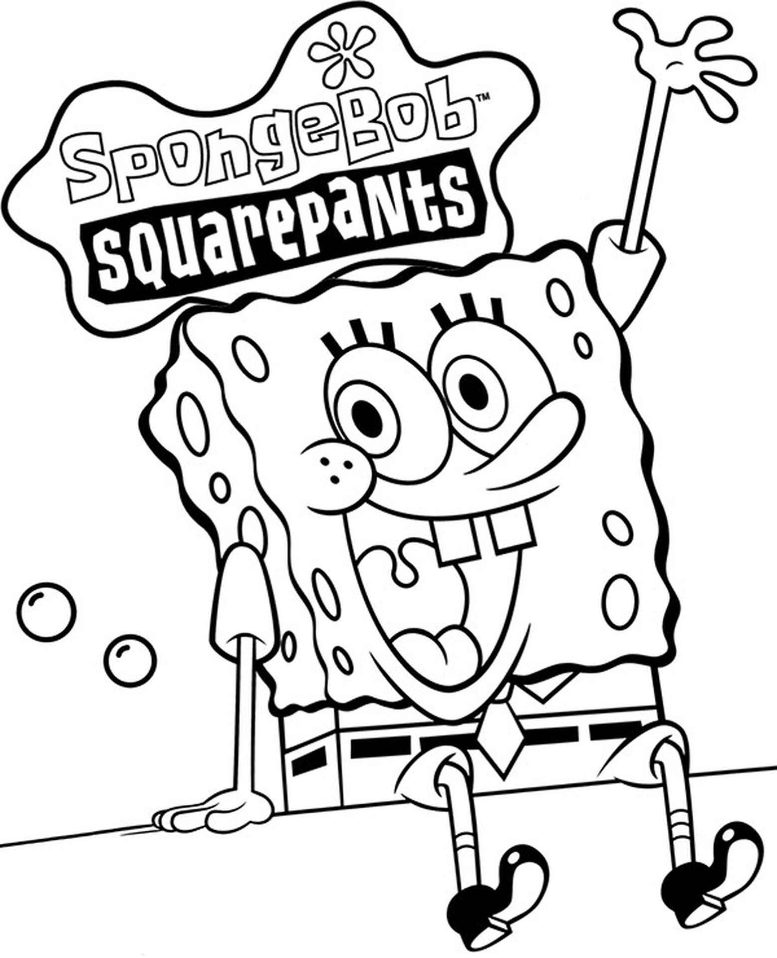 Spongebob Welcomes With Logo Coloring Page
