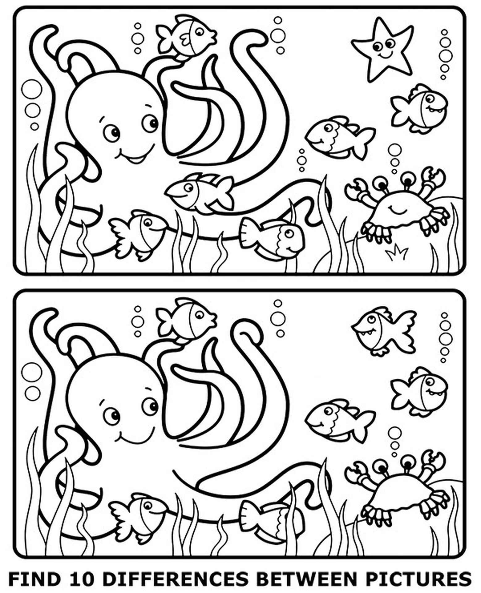 Spot 10 Differences Coloring Page